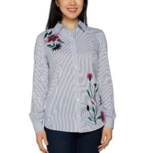Susan Graver Striped Embroidered Shirt Size 16